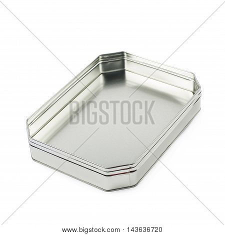 Octagonal box made of brushed metal sheet, isolated over the white background