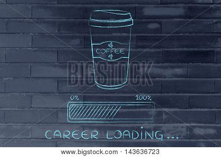Coffee Tumbler And Progress Bar Loading Career