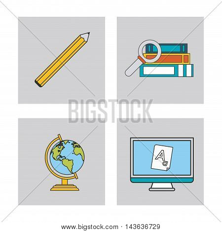 book planet sphere computer pencil education learning school icon. Colorful design. Vector illustration