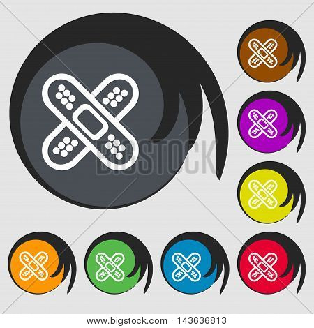 Adhesive Plaster Sign Icon. Symbols On Eight Colored Buttons. Vector