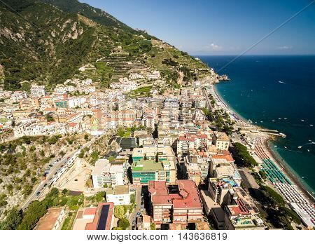 Aerial View of Maiori, Amalfi coast, Italy