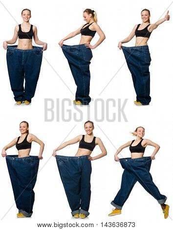 Composite photo of woman in dieting concept