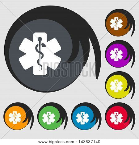Medicine Sign Icon. Symbols On Eight Colored Buttons. Vector