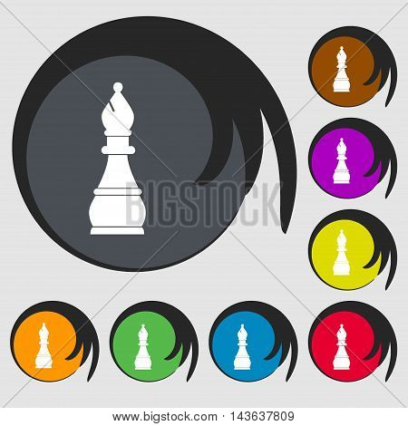 Chess Bishop Sign Icon. Symbols On Eight Colored Buttons. Vector