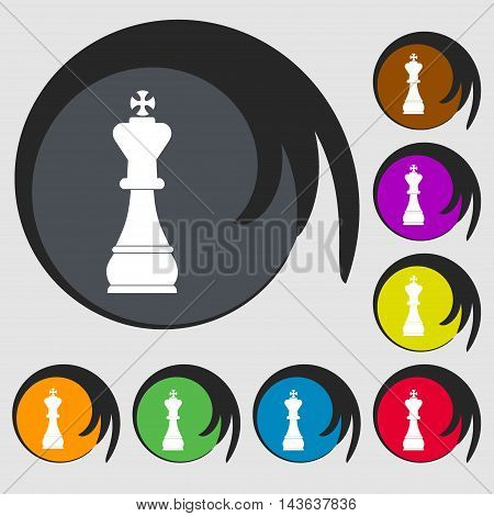 Chess King Sign Icon. Symbols On Eight Colored Buttons. Vector