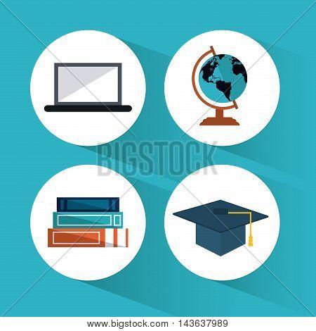book planet sphere graduation cap laptop education learning school icon. Colorful design. Vector illustration