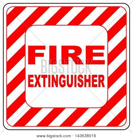 Fire extinguisher text banner vector illustration striped in white and red