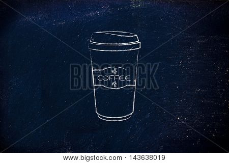 coffee tumbler chalk outline illustration, label with beans and text