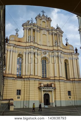 Facade view of St Johns Church in Vilnius University Vilnius Lithuania