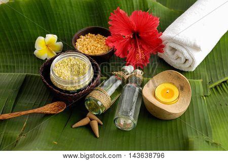 Tropical spa setting and banana leaf