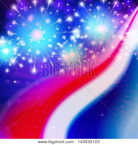 illustration of abstract American Flag colors for Independence, Patriotic or Memorial Day. Firework.