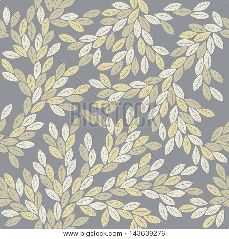 Decorative seamless pattern with elegant leaves. Perfect background for handicraft ,linen ,card ,  folk art and more creative designs.