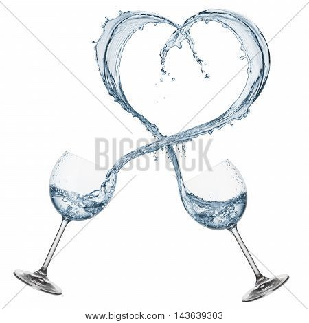 glasses pouring water that forming a heart shape isolated on white