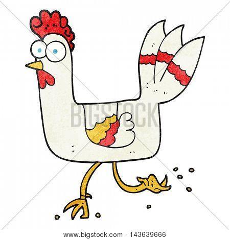 freehand textured cartoon chicken running