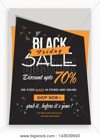Black Friday Sale with 70% Discount Offer, Creative Poster, Banner or Flyer layout. Vector illustration.