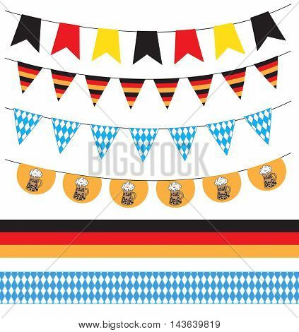 Oktoberfest garland ribbons Oktoberfest festival. Vector illustration