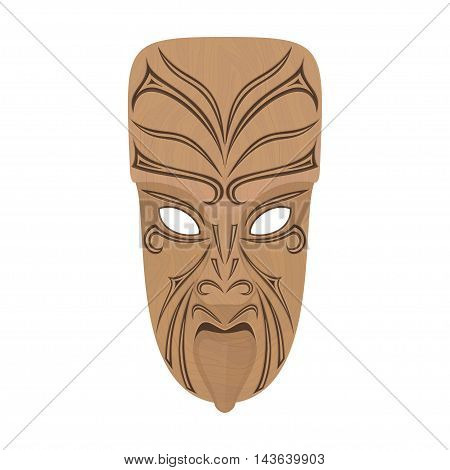 Maori wooden mask on a white background. Isolated. Vector illustration