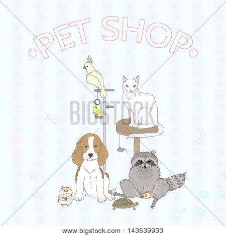Pet Shop. Various cute pets on pastel background with decorative elements. All the elements are isolated. Hand drawn vector illustration.