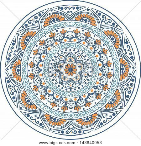 Drawing of a floral mandala in blue and orange colors on a white background