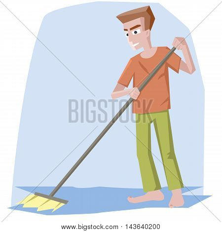 man with mop - funny cartoon vector illustration