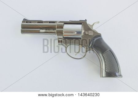 Pistol Revolver Handgun Isolated On White Background.