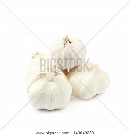 Pile of garlic bulbs isolated over the white background