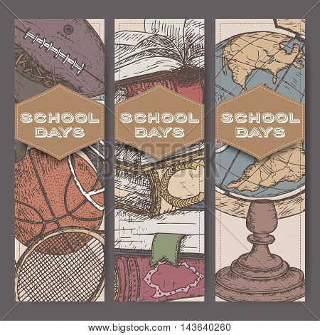 Three vertical banners with hand drawn school related color sketches featuring books, globe, sport equipment. School memories collection. Great for school, education, book shop, retro design.