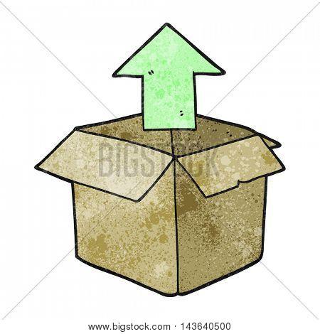 freehand textured cartoon unpacking a box