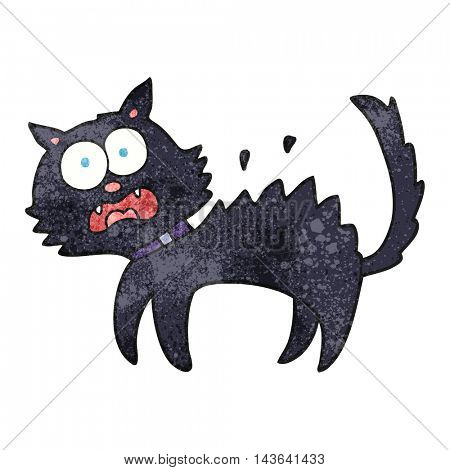freehand textured cartoon scared black cat