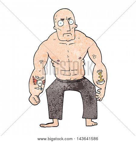 freehand textured cartoon tough man