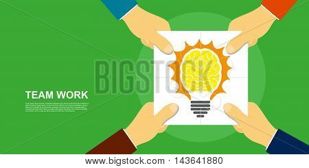 picture of human hands holding puzzle pieces with light bulb image flat style illustration team work concept
