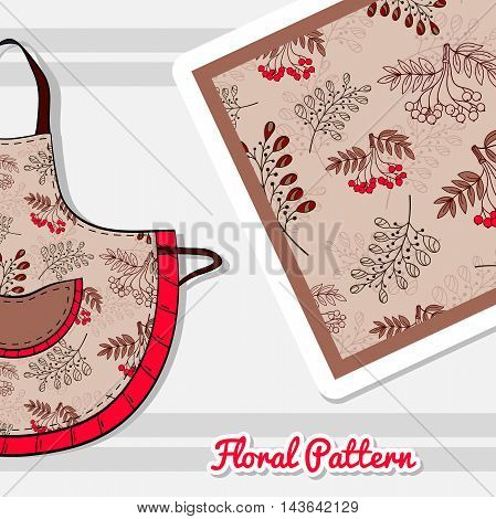Hand drawn apron with seamless pattern made from hand drawn flowers. Vector illustration. Can be used for textile.