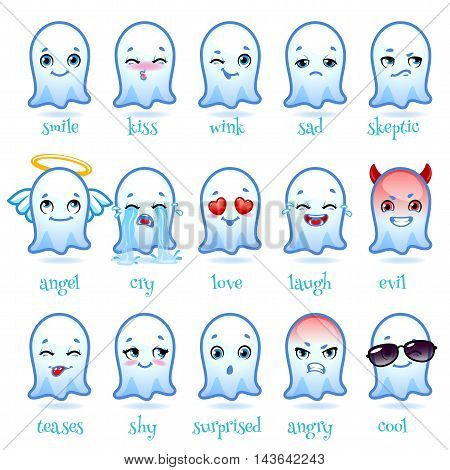 Set of emoticons funny ghost. Different emoticons for chats or messengers. Vector icons on a white background.
