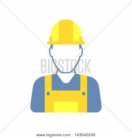Workman with helmet, person icon, man in worksuit symbol