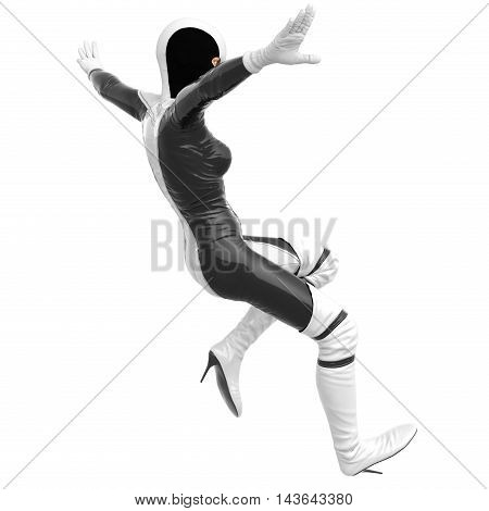 one slim girl in black and white superhero super suit. She falling. Hands in opposite directions. In anticipation of the fall. 3D rendering, 3D illustration