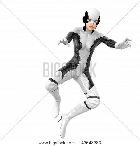 one slim girl in black and white superhero super suit. She in the air. Hands in the pose of a release of energy. Legs half bent. 3D rendering, 3D illustration
