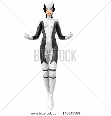 one slim girl in black and white superhero super suit. She is in the posture of flight. His fists are clenched. A stern look directed at the camera. 3D rendering, 3D illustration