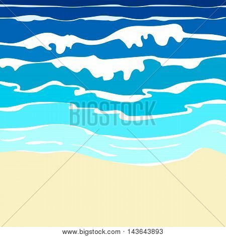 Illustration of sand beach with blue ocean with waves