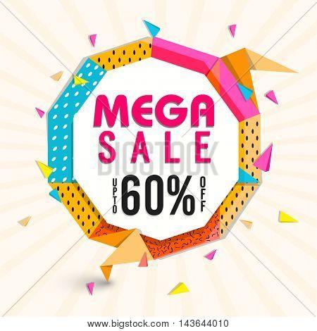 Mega Sale with Upto 60% Off, Creative colorful Poster, Banner or Flyer design. Vector illustration.