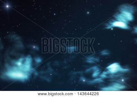 Beautiful abstract heavenly background with blurred clouds in the form of nebulae and stars on the background of the dark sky shot with a long exposure