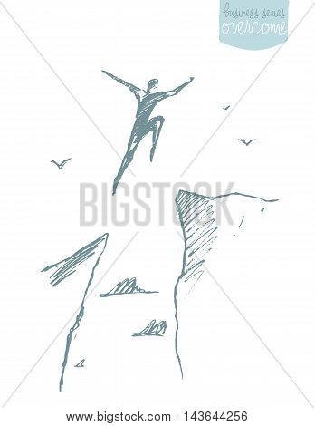 Silhouette of a man jumping over the gap. Concept vector illustration, sketch