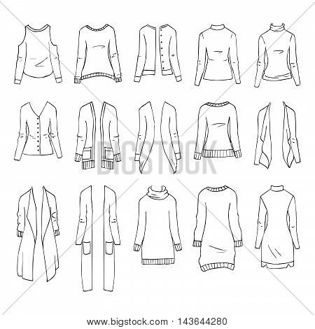 Hand drawn vector clothing set isolated on white. 15 models of trendy jumpers and cardigans.