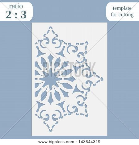 Paper openwork greeting card template for cutting lace invitation lasercut metal panel wood carving laser cut plastic vector illustration