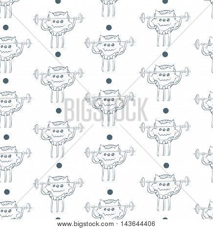 Seamless vector illustration with cute little monster training with barbell on white background with dots. Funny pattern good for gym kids sport. Hand drawn monster has three legs.