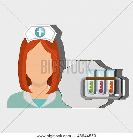 nurse woman tube lab chemistry vector illustration graphic