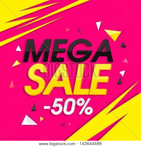 Mega Sale with 50% Off, Creative Poster, Banner or Flyer design. Stylish vector illustration.