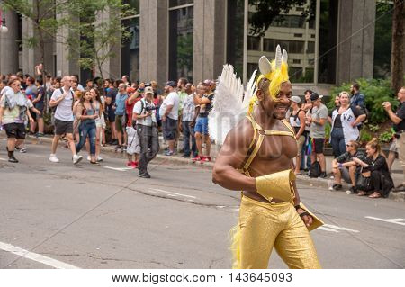 Montreal CA - 14 August 2016: Dancer at Montreal Gay Pride Parade