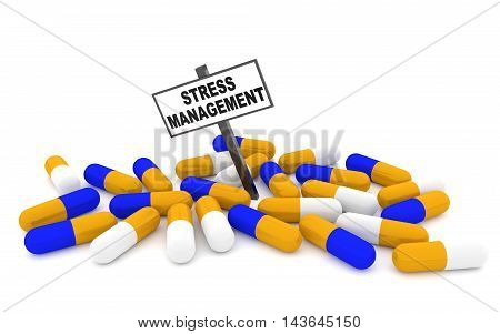 Stress management pills concept with pills isolated on white background. 3D rendering