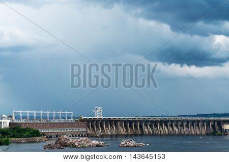 view of the Hydro power station on the island of Khortytsya Zaporozhye region Ukraine