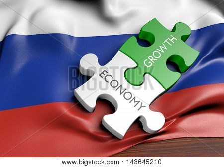 Russia economy and financial market growth concept, 3D rendering